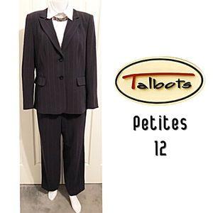 Talbots Petites, 2 Piece Blazer & Pants Navy Suit